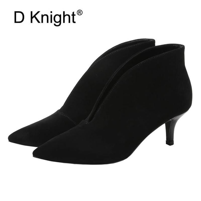 Botas de moda mujer tobillo sexy punta puntiaguda v-boca otoño invierno tacones altos cuero negro / matorral zapatos occidentales