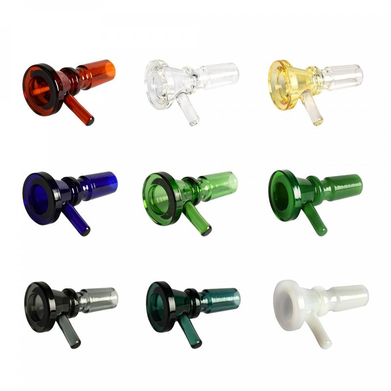Latest Colorful 14MM 18MM Male Adapter Connector Interface Pyrex Glass Bowl Container Handle Handmade Vessel Holder Smoking Bong Holder DHL