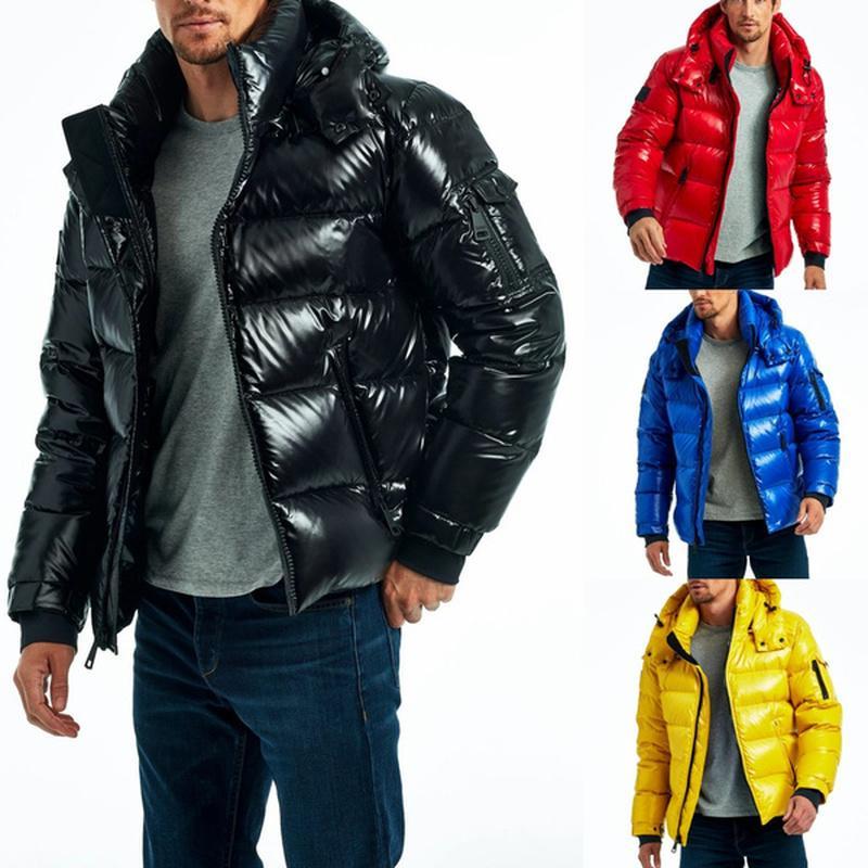 Мужчины Мода Пуховая Куртка Зима Теплый Легкий Пузырь Пальто Большая Продажа Мужская Одежда Сплошная Молния Карманные Парки Паркуты Вершины Оружие C1210