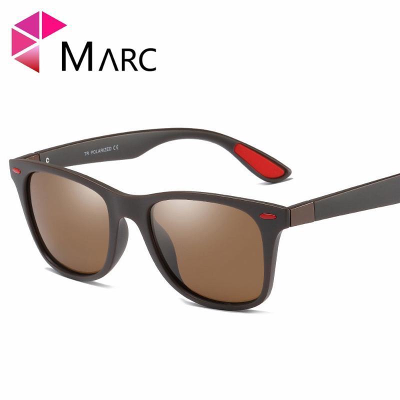Männer Neue 2020 Tönungen Square Sonnenbrille Eyewear Fahren Marc Mode Trend Gläser Matte Klassische Feste Tr90 Braunes Objektiv Rotes Harz 1 JFORR