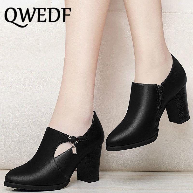 Дамы высокие каблуки женские толстые с кожаными туфлями 2019 весна большой размер заостренный глубокий рот мать обувь женщина XM-97 T200525