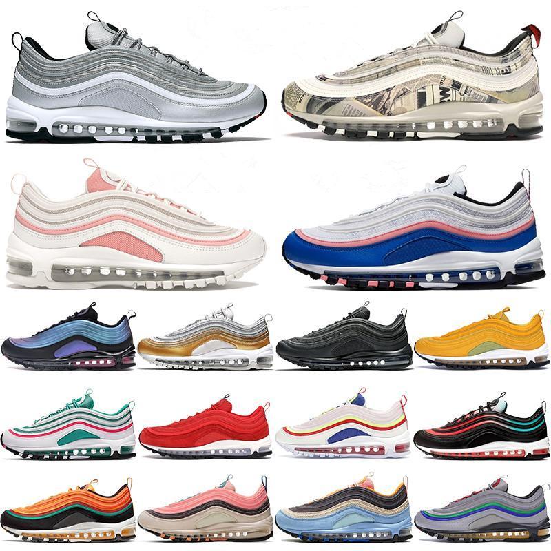 2020 YENI 97 Beyaz Bullet Sean Wotherspoon 97s Kadın Erkek Vapourmax Siyah Sneakers Gümüş OG Gradyan Fade Ayakkabı