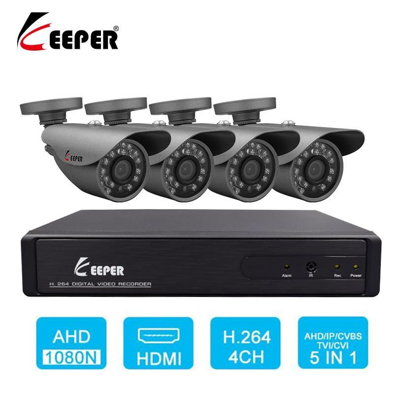 Kits de câmera sem fio Keeper 2MP Video Vigilância Sistema CCTV 4CH AHD 1080N DVR Kit 4 x 1080P 2.0MP Segurança Impermeável ao ar livre