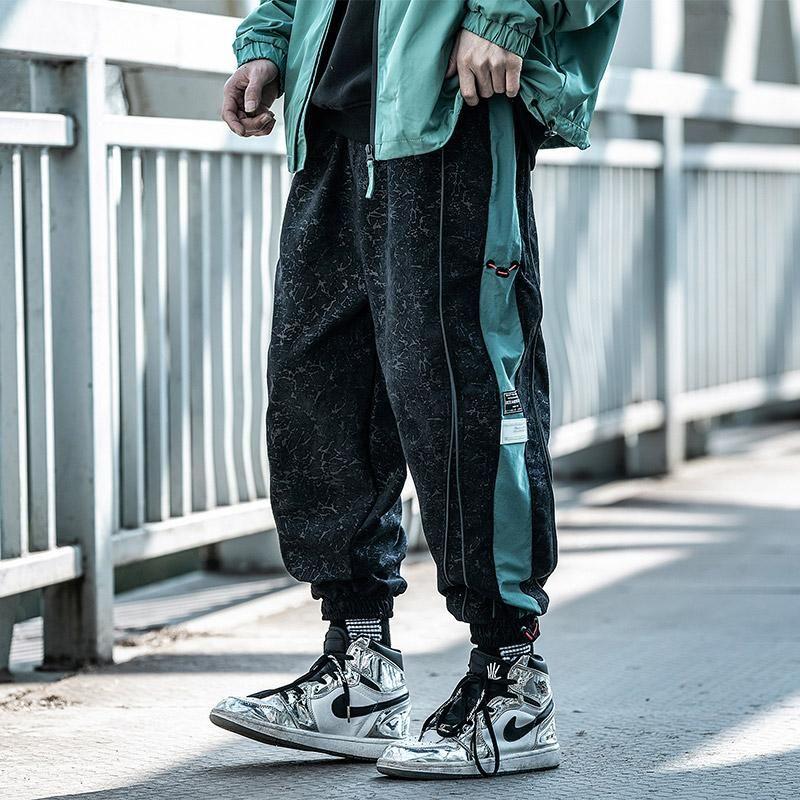 Мужские брюки сращивание японских стилей одежды комбинезон свободно универсальные грузовые брюки негабаритные брюки негабариты Hiphop Harajuku