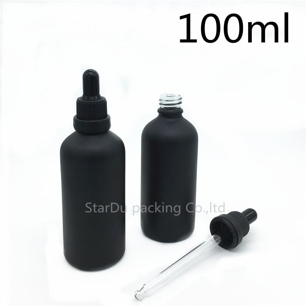 Free shipping 500pcs 100ml black frosted glass essential oil bottle with tamper evident dropper perfume