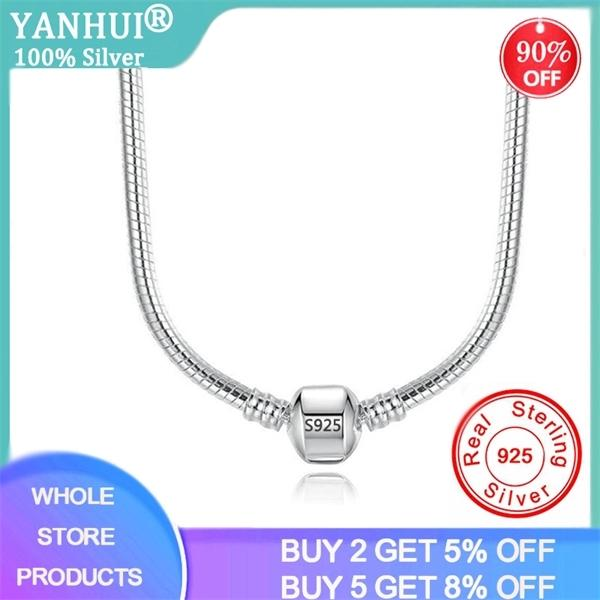 With Certificate 45/50/55/60CM 925 Solid Silver Snake Chain Necklace Fit Pendants Beads Charms DIY Gift Jewelry Accessories Q1114