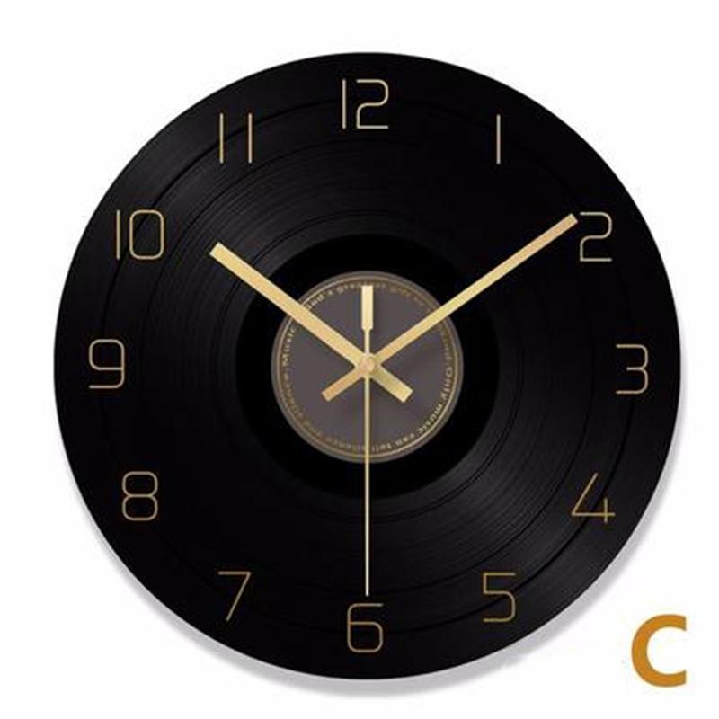 Vinil Registro Relógio de Parede Retro Industrial Numerais Números Números Negro Preto Jam Dinding Unik Vintage Home Decor Cozinha 60C050 Y200407
