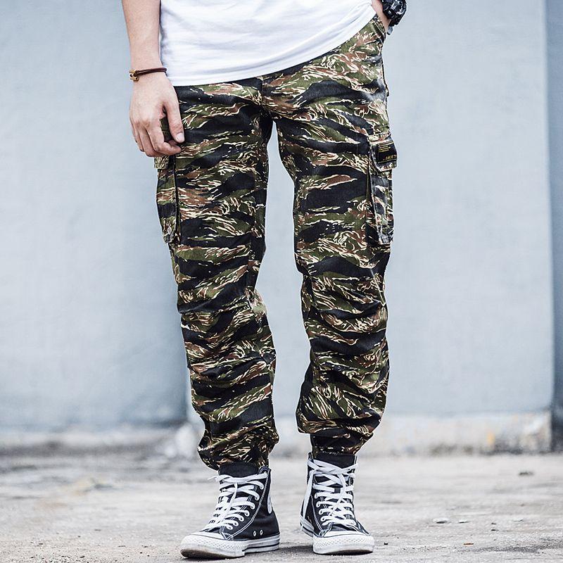 Tiger Stripe Imprimer Camouflage Pantalons de cargaison Mens Safari Pantalons Streetwear Poches multiples Hommes Pantalon tactique militaire Jogger X1218
