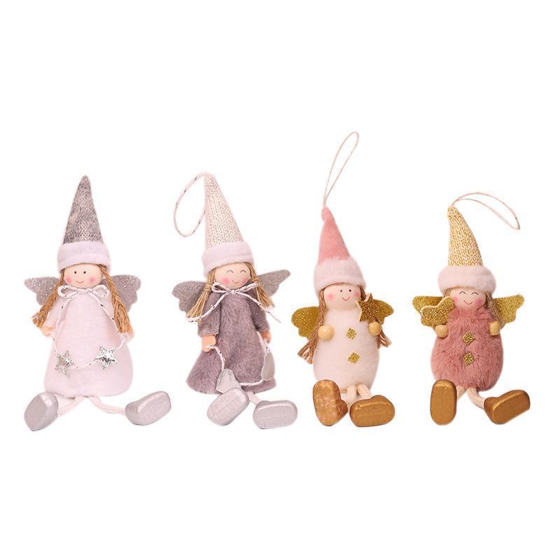 Décorations de Noël 4pcs Ornements Belle poupée poupée Angel Ange fille suspendue pendentif arbre décor xmas décoration année cadeau