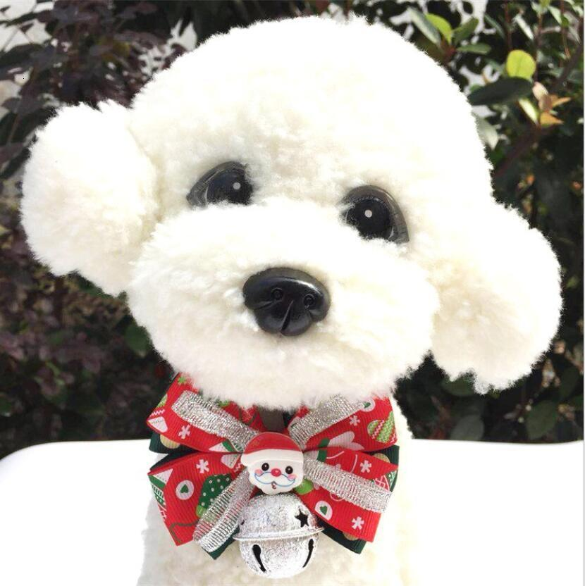 Santa Style Bell Collar Cane e Cat Pet Christmas Carino Decoration Bow Tippy Dhlfree Shipping