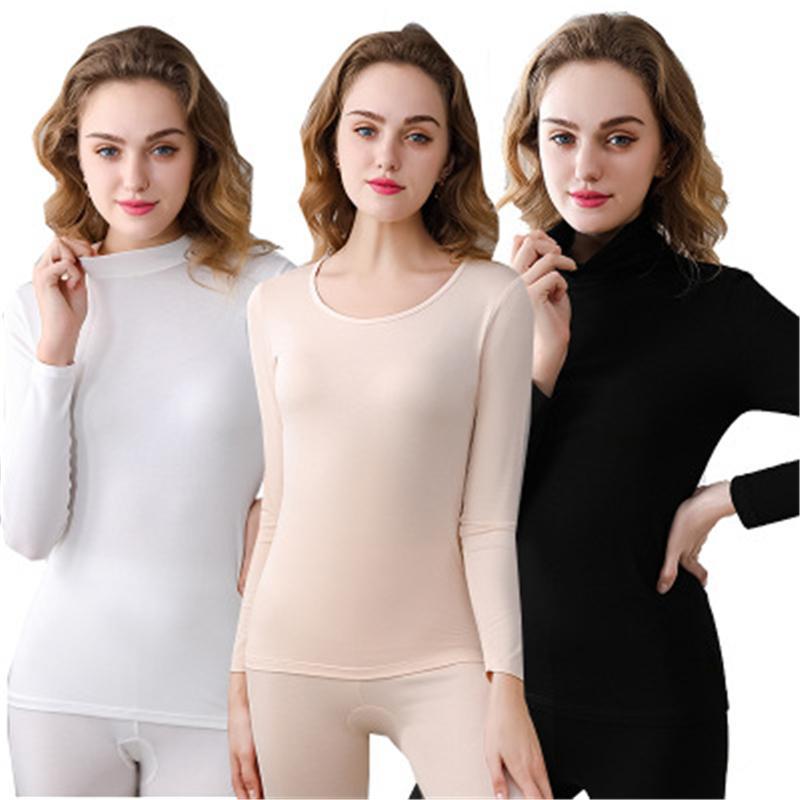 Женщины Тепловое нижнее белье Мода Trend с длинным рукавом Высокая шея или Круглая шея Теплые дна Топы Зимние Женские Повседневные Тощие Тепловое белье