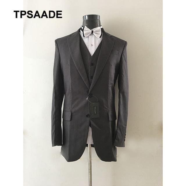 Men's Suits & Blazers Real Black Notch Lapel Wedding Men Suit 3Pieces(Jacket+Pant+Vest+Tie) Prom Groom Terno Masculino Trajes De Hombre Blaz