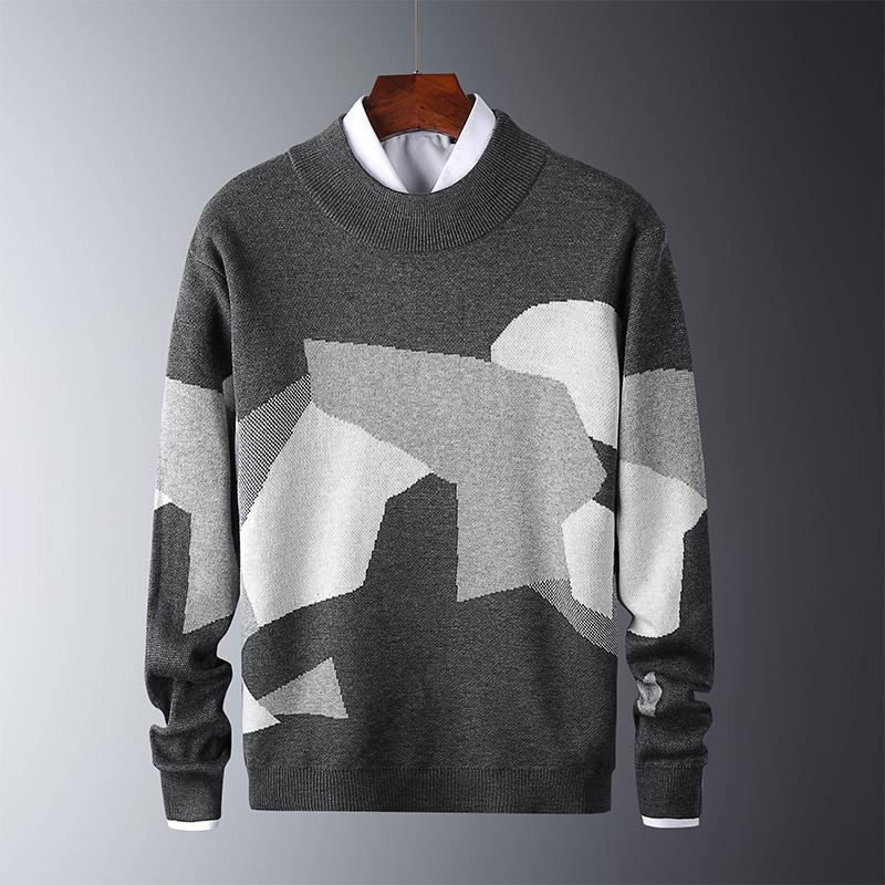 2021 Men Casual Sweater Fit Knitted Patchwork Color Men Thin Sweaters Cotton Long Sleeve O-Neck Male Warm Pullover