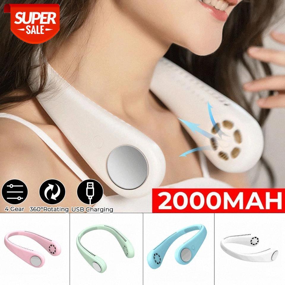2000mah Носимый ленивый спорт Halter вентилятор мини висит шеи вентилятор USB аккумуляторная крышка Halter спортивный воздухоохладитель открытый # AL2Z