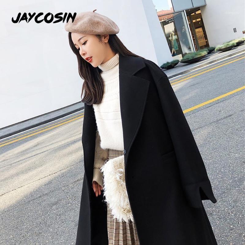 JAYCOSIN 2020 Women Coat Loose Belt Classic Trench Coat Thicken Warm Woolen Casaco Femini Blends Female Elegant Plaszcze Damskie1