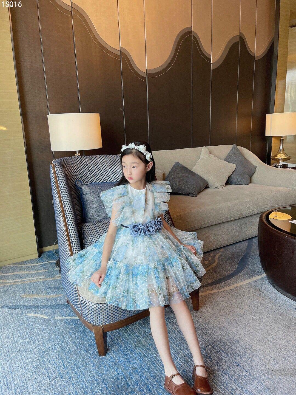 2021 New Summer Kids Dresses Girls Dress For Baby Girls Lace Flower Dress Children Clothes Girls Fashion Cute Dress with belt