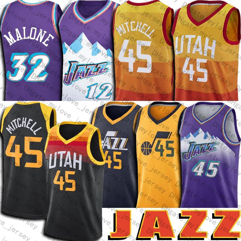 Donovan 45 Mitchell Jersey UtahJazz2021 City Basketball Jerseys Retro Karl 32 Malone John 12 Stockton Jersey