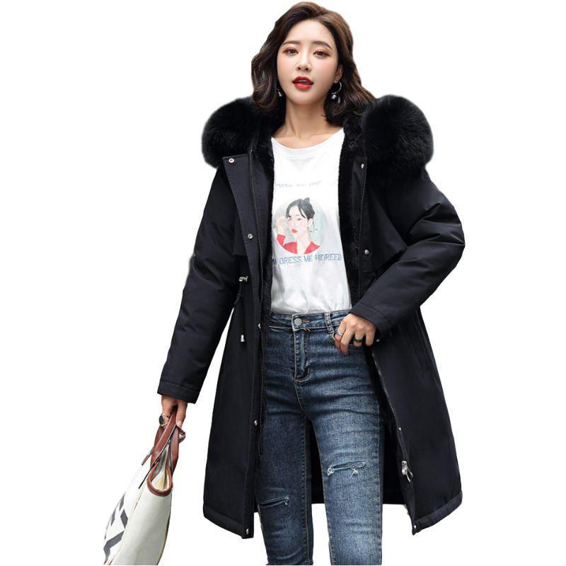 Para baixo couro parka moda mulheres vestuário feminino parker outono feminino feminino jaqueta longo médio fine cordon 3ag7
