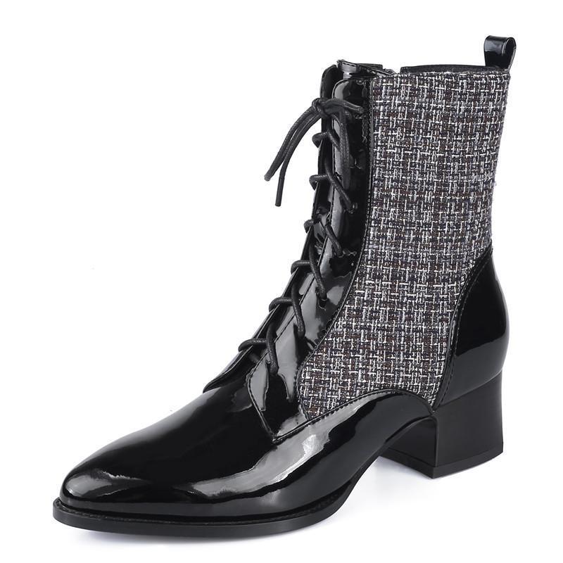 Matin Botas apontou salto quadrado High-top mulheres sapatos tornozelo botinhas emenda pano 2020 nova moda casual de couro de salto grosso