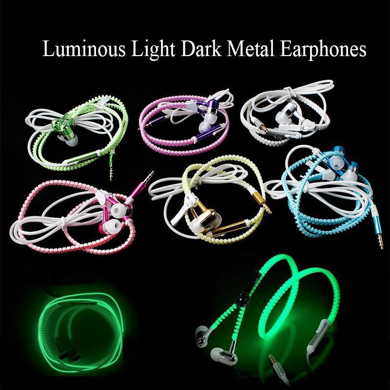 Venda quente Luminous Glow Light Zipper Zipper Fones de ouvido com microfone cancelamento de ruído com cancelamento de earbuds especiais estéreo 3.5mm para telefone inteligente