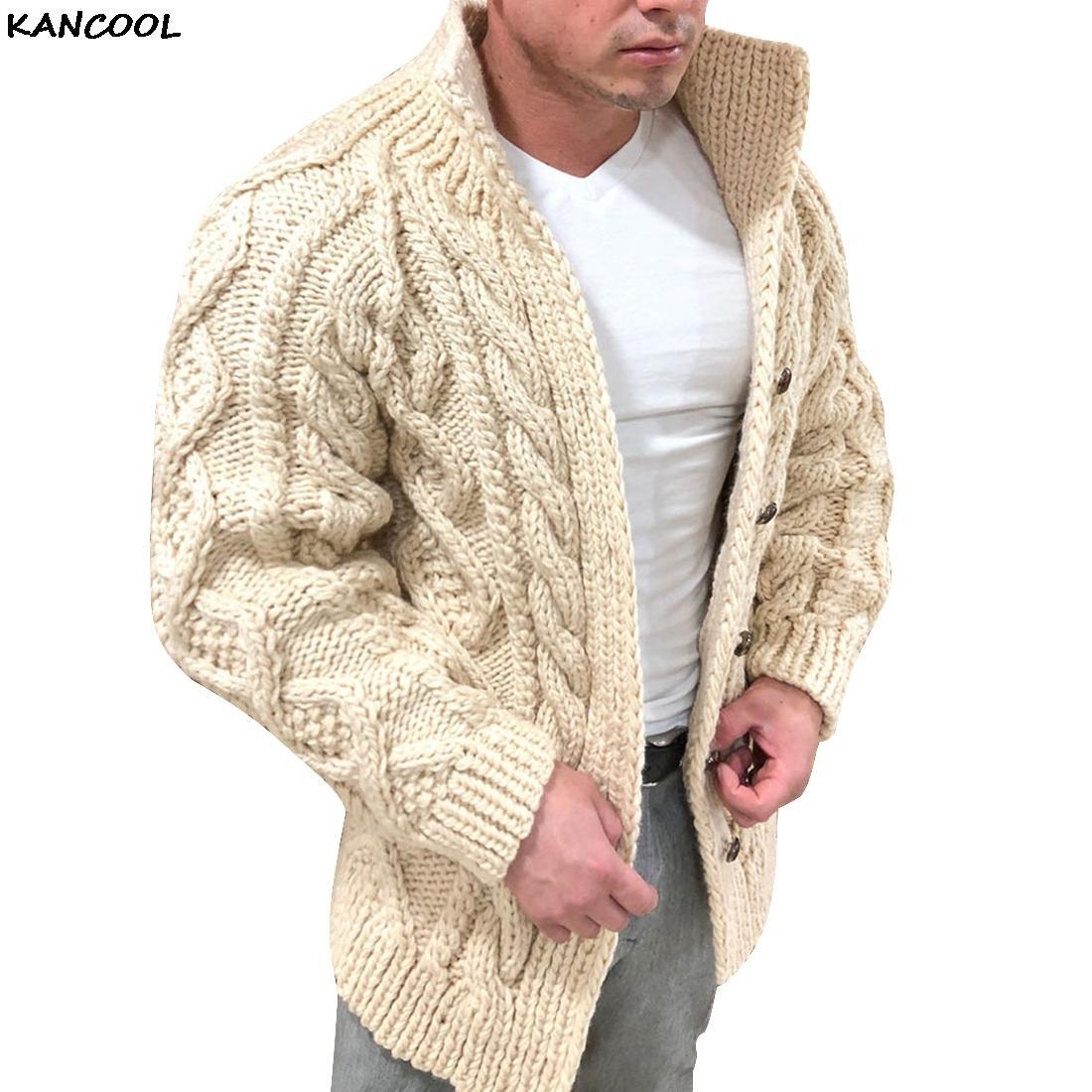 KANCOOL 2020 para homens suéteres outono inverno quente malha camisola jaquetas casacos casacos masculinos roupas casuais