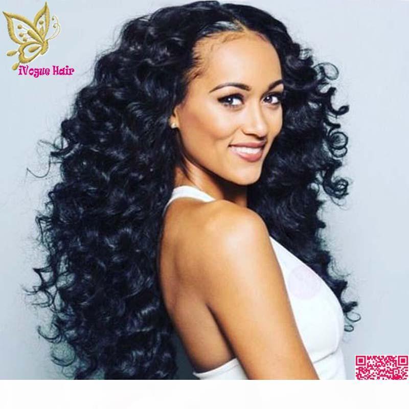 Bouncy Courly Volle Spitze Perücken Menschliches Haar Virgin Brasilianische lockige Spitze Perücke Glueless Spitze Front Human Haar Perücken Für Schwarze Frauen