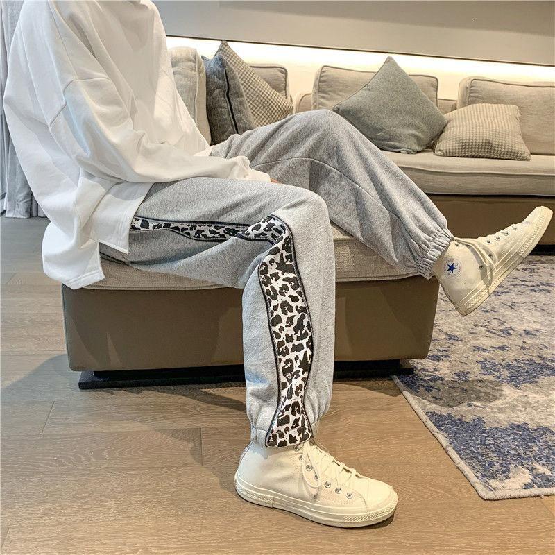 2021 Primavera y otoño New Youth Popular Popular Patrón de Leopardo Patrón de Leopardo Pantalones impresos Pantalones deportivos Moda Pantalones casuales