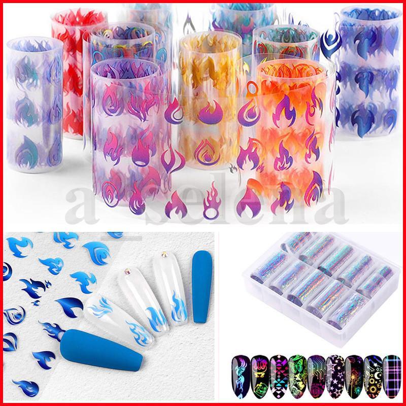 10pcs Beaucoup de laser Coloré Nail Art Autocollant 3D Flamme Feu Flamme Feuille Holographique Nail Feuille Stickers Stickers Diy Glitter Décorations