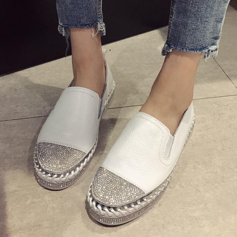 Europeo famoso marchio patchwork spacchespadrilles scarpe donna donna in vera pelle rampicante appartamenti da donna mocassini bianchi in pelle mocassini w c1120
