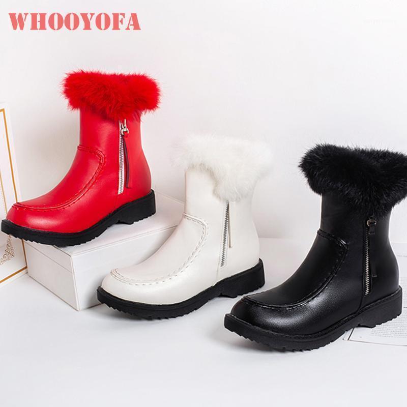 Brand new doce vermelho branco mulheres peludo montando botas quente med sqaure saltos lady shoes shoes wl361 plus grande tamanho 10 431