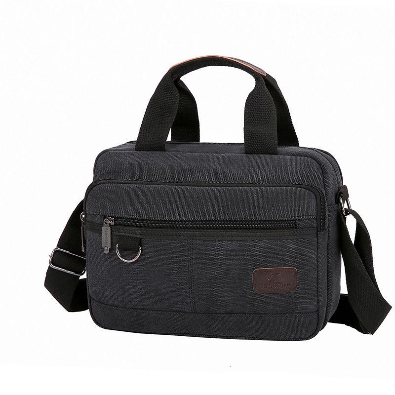 HBPMen Canvas Briefcases Retro Business Office Shoulder Bags Work Crossbody Bag For Men's Large Capacity Laptop Handbage XA510F Q0112