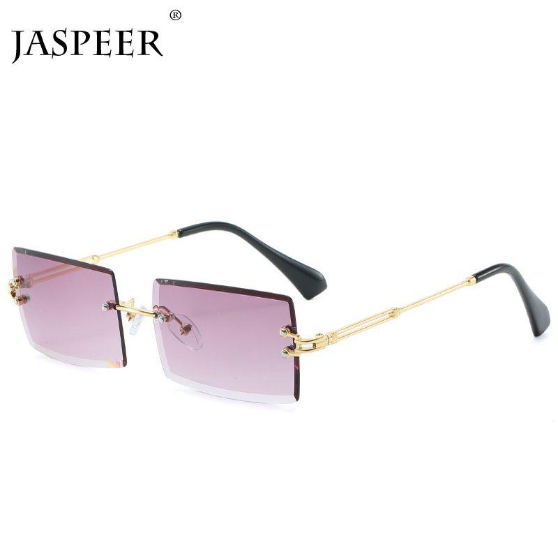 Jaspeer New Random Rectangle Women Men Shades Brand Designer Gradient Uv400 Retro Frameloze Sunglasses