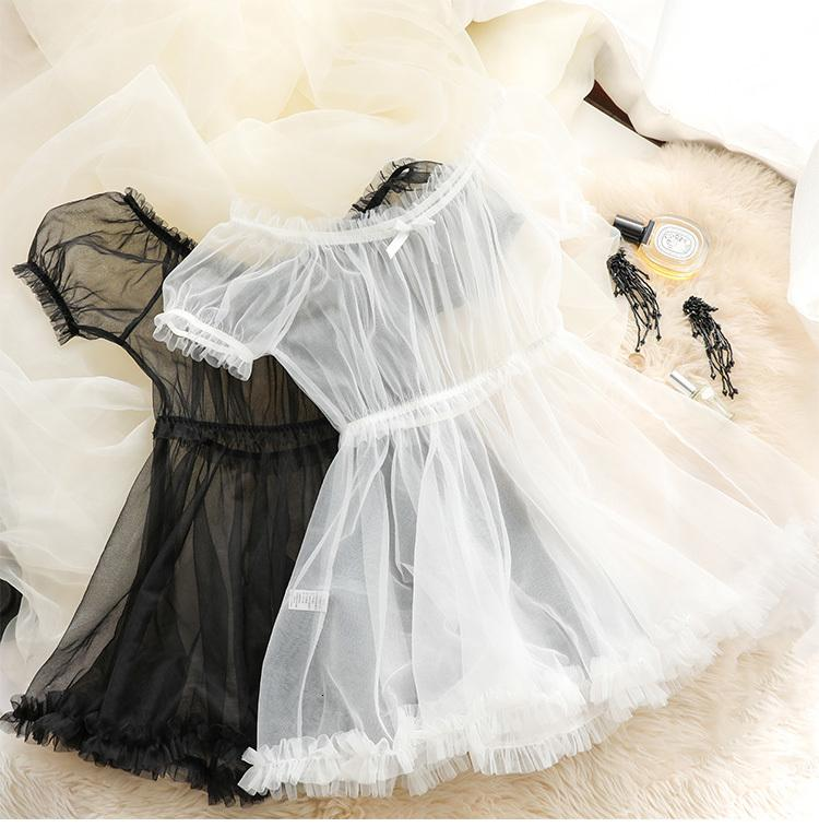 Женщины прозрачные кружева нижнее белье набор черно-белый прекрасный сон носить сексуальную милую принцессу ночной ночной русский язык лолита эротический зайчик Q1205