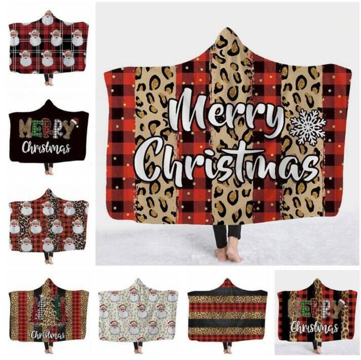 Xams Blanket Kids Hooded Blankets Fleece Throw Blanket 3D Leapard Printed Cape Santa Clause Washable Warm Bed Velet Sea Shipping KKB3178