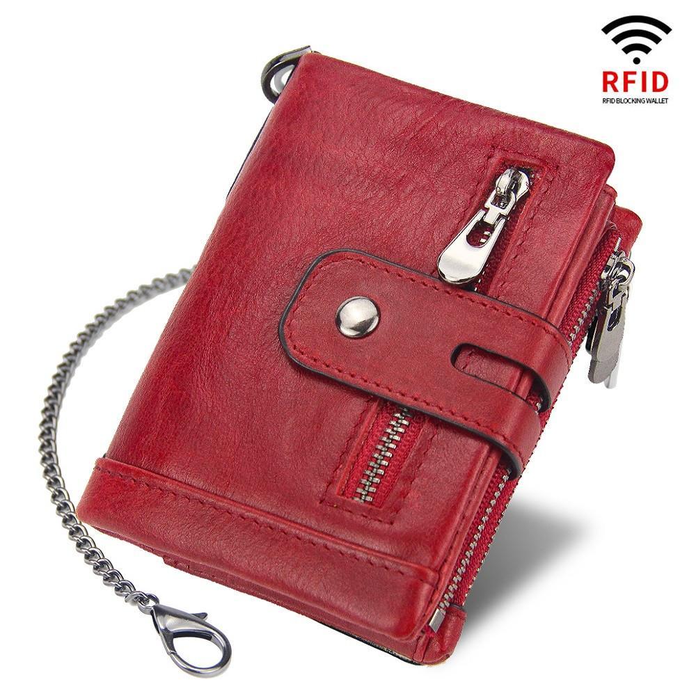 RFID 100% Echtes Leder Frauen Brieftaschen Weibliche Münze Geldbörse Kurze Männliche Geldtasche Qualität Designer Männliche Karte Klein
