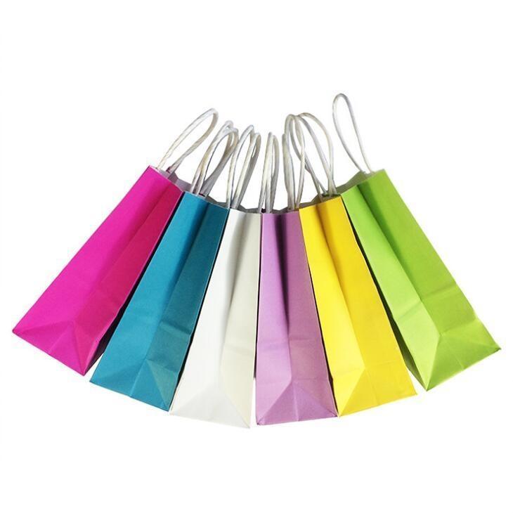 DIY Multifunktions Weiche Farbe Papiertüte mit Griffen / 21x15x8cm / Festival Geschenkbeutel / hochwertige Einkaufstaschen Kraftpapier LX2194