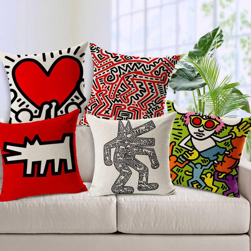 Keith Haring Moderno Decoración para el hogar Caja de lanzamiento Asiento de coche Vintage Cojín nórdico para sofá Cubierta de almohada decorativa