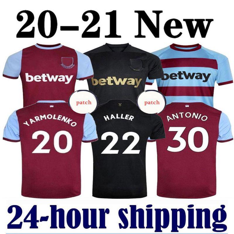 20 21 21 West Soccer Jersey Ham 2020 2021 United Noble Jerseys Anderson riso nobile Camicie da calcio Uomo + Kid Kit 125 anni 125th Third Black