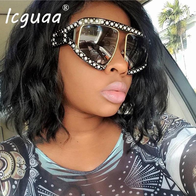 UV400 негабаритная жемчужная рамка Goggle Солнцезащитные очки Женщины Shades Роскошь 2020 Бренд Дизайнер Солнцезащитные очки Женский UV400