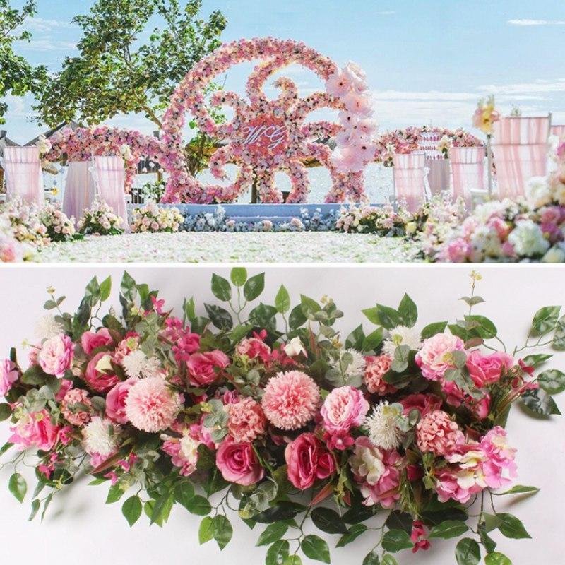 50/100cm DIY Mariage Fleur Arrangement mural Fournitures Pivoines de soie Rose artificielle Fleur artificielle Rangée Décoration de mariage Arch de mariage
