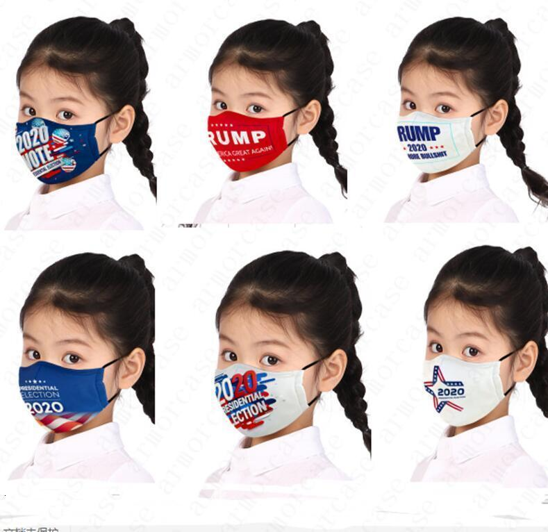 Face US-Präsident Buchstaben Kinder Kinder-Kinder-Druckmaske Jungen Mädchen Maske Trump 2020 Flagge Dust Nebel Wiederverwendbare waschbare Masken D5