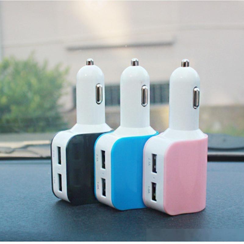 3 в 1 с двойным автомобильным зарядным устройством USB с прикуривателем для iPhone Samsung планшетный ПК с розничной коробкой