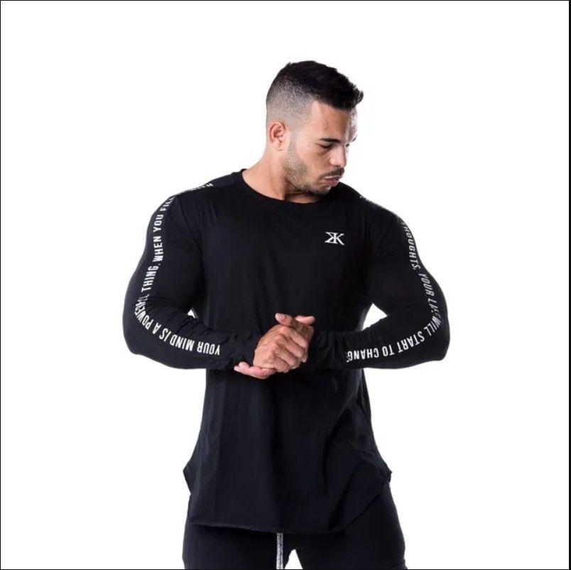 Nouvelle mode Haute élasticité Sporting Hommes à manches longues T-shirt T-shirt Hommes Solid Gyms Solidation Bodybuilding Tee shirt Tee