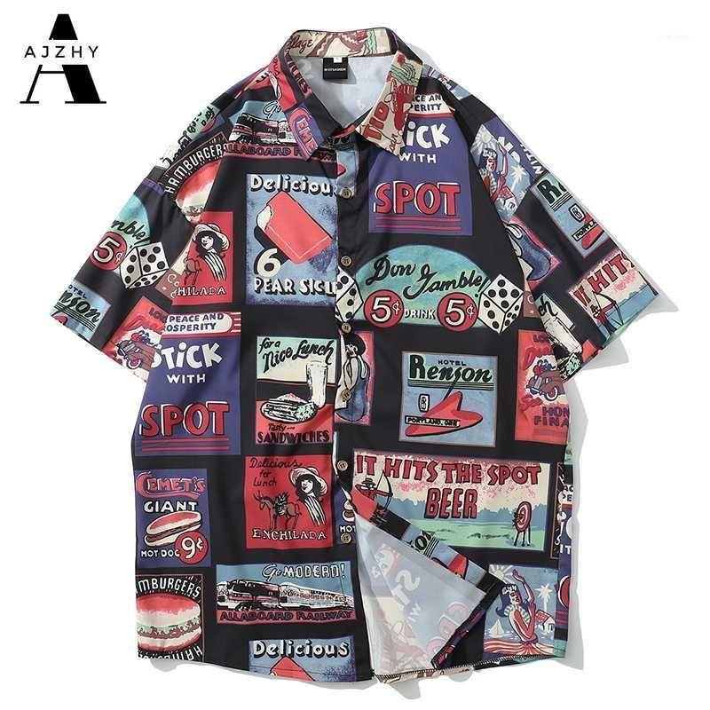 Men's Casual Shirts Men Streetwear 2021 Short Printed Vintage Hip Hop Harajuku Beach Fashion Hawaiian Tee Shirt Homme1