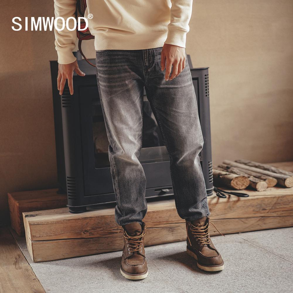 Simwood 2020 Herfst New Vintage Jeans Uomo Regolare Straight Fit Dark Plus Size Denim Broek Brand Abbigliamento SJ130845