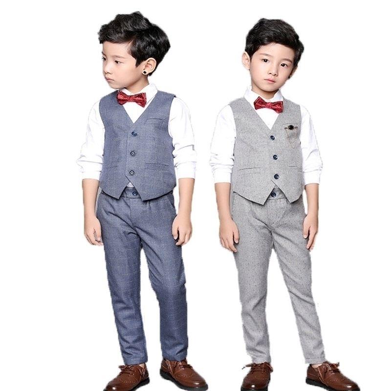 Flor Boys Ropa Set School Kids Boda Vestido formal Vest Pantalones 2pcs Traje Niños Birtdahy Ceremonia de baile Traje 201126