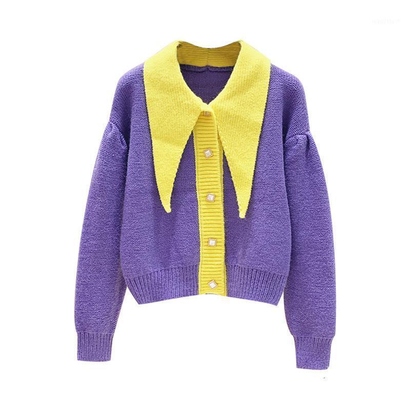 Mujer Cardigan Contrastando Cuello de Color de Color Punto Cardigan Abrigo 2020 Otoño e invierno New Lapel Suelte Cardigans Jumpers1