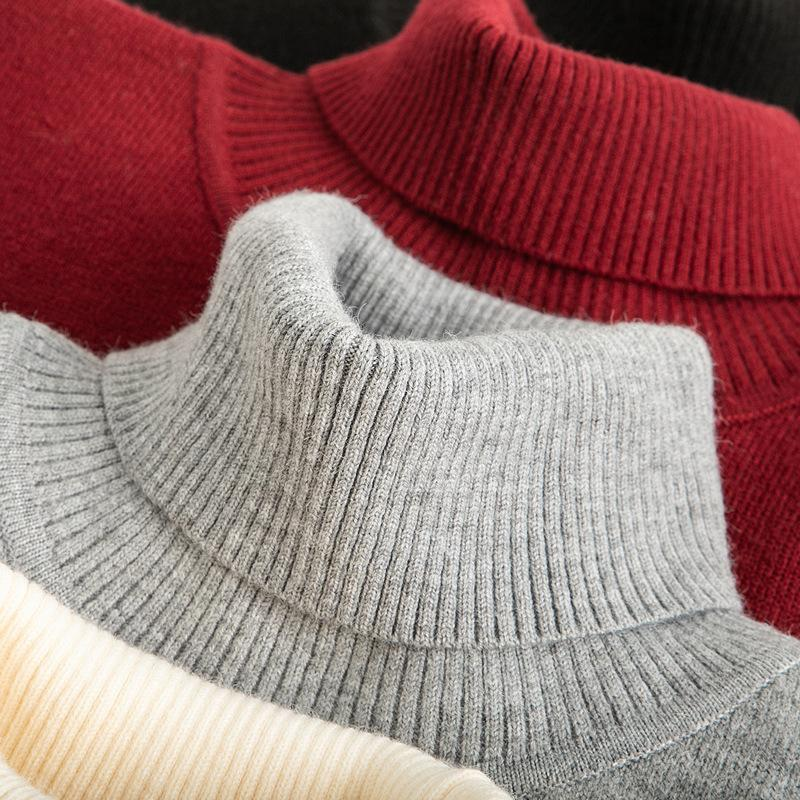 Hommes Turtleneck Pull Pull Homme Mode Couleur Solide Pull en laine Couleur épais Tricots Hommes Sweaters Winter Neuf 2020