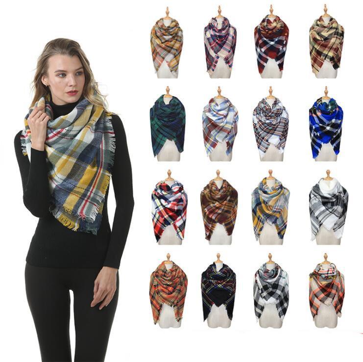 Платки Зимних Теплого плед шарф женщины Одеяло Шотландка плед Шарфы Большой Checked шаль обруч женщины Tartan кисточка шарф AHB3067