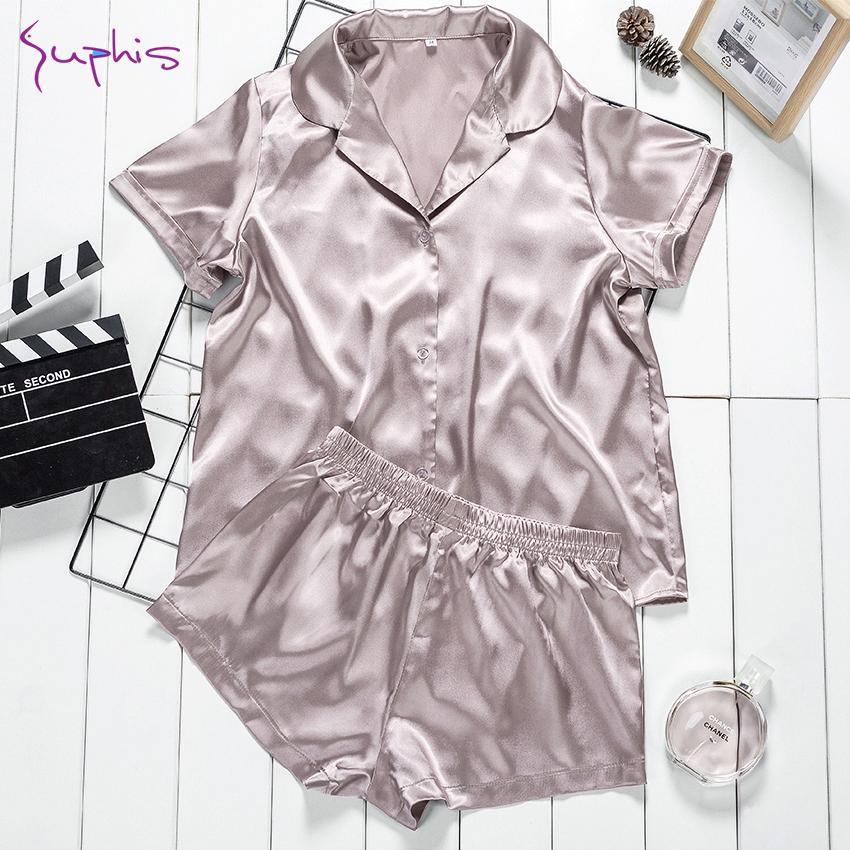 Suphis Casual Braun Satin Pyjama Set Kurzarm Sommer Nightshirt Frauen Nachtwäsche Nachtwäsche Zwei Teile Seide Shorts PJs Weibliche Q1201